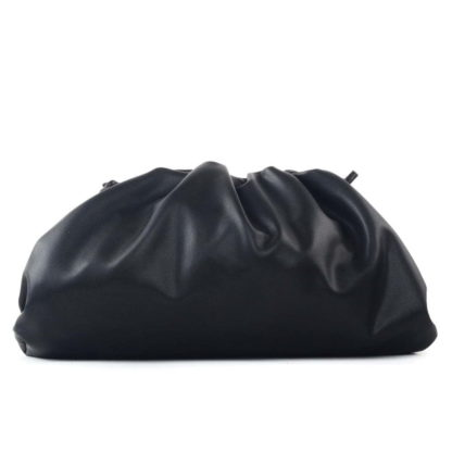 oversized ruched clutch bag black