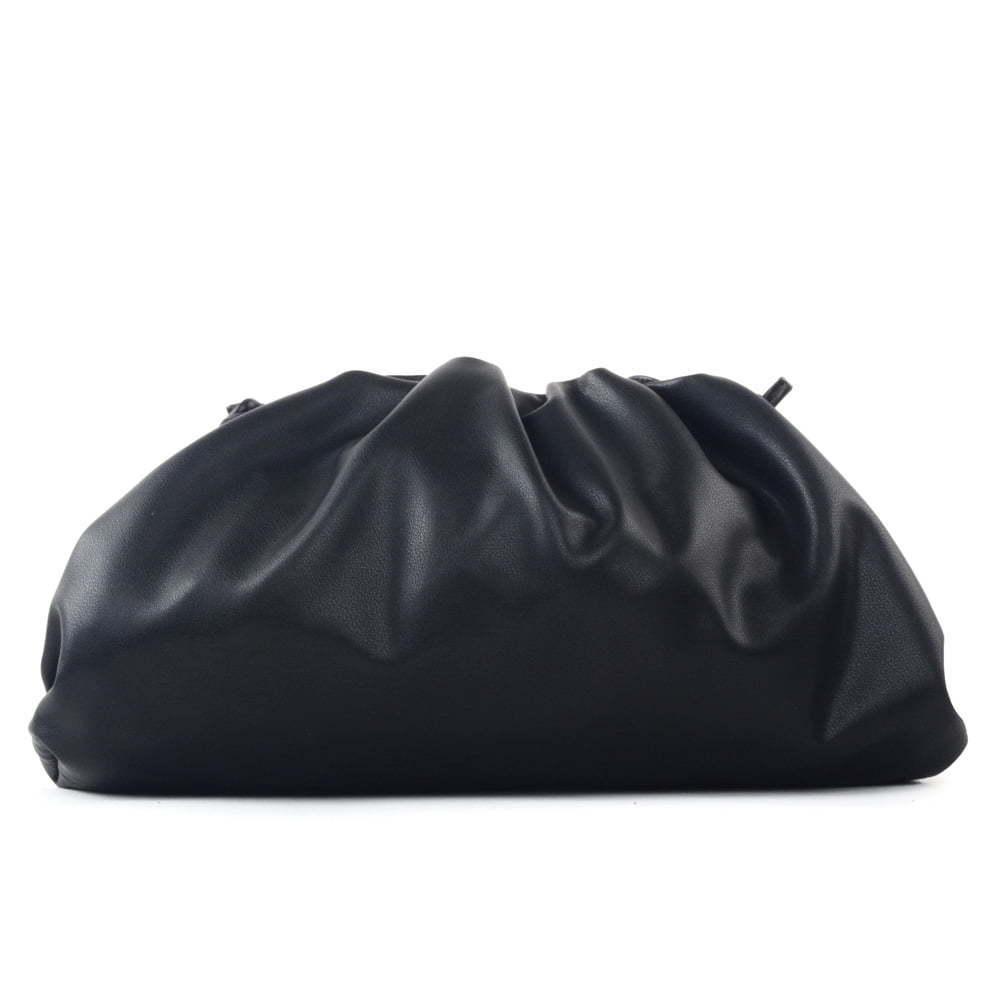 oversized ruched clutch bag black