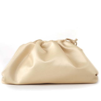 ruched leather clutch bag