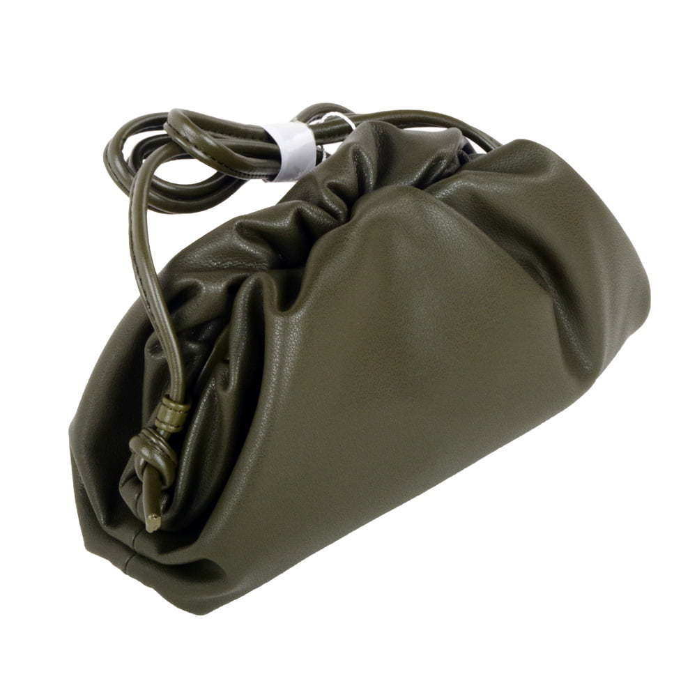 The Pouch 20 Smooth Leather Ruched Clutch bag Green