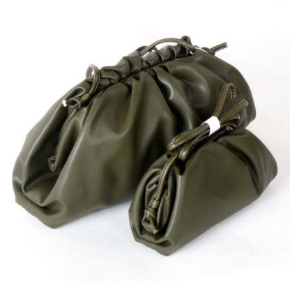 Olive Genuine leather dumpling cloud bag