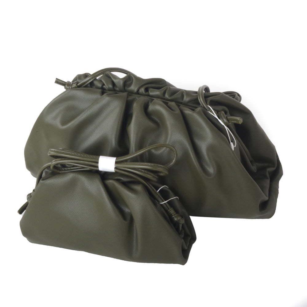 Olive Genuine leather dumpling cloud bag