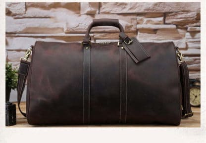 brown crazy horse leather travel bag